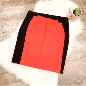 Worthington Red and Black Pencil Skirt